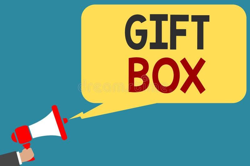 Schreibensanmerkung, die Geschenkbox zeigt Das Geschäftsfoto, das kleines cointainer A mit den Designen fähig sind zur Behandlung lizenzfreie abbildung