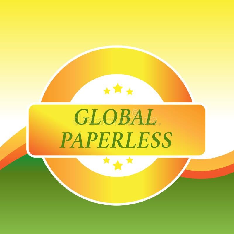 Schreibensanmerkung, die globales ohne Papier zeigt Präsentationsc$anstreben des Geschäftsfotos Technologiemethoden wie E-Mail an stock abbildung