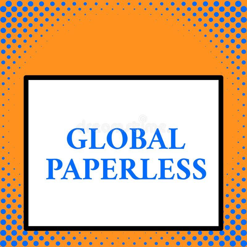 Schreibensanmerkung, die globales ohne Papier zeigt Präsentationsc$anstreben des Geschäftsfotos Technologiemethoden wie E-Mail an lizenzfreie abbildung