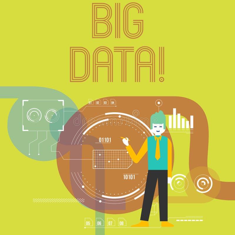Schreibensanmerkung, die große Daten zeigt Geschäftsfoto, das extrem große Sätze zur Schau stellt, die möglicherweise analysiert  lizenzfreie abbildung