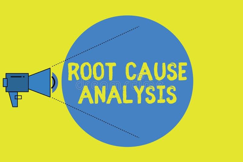 Schreibensanmerkung, die Grundursache-Analyse zeigt Geschäftsfoto Präsentationsmethode des Lösens von Problemen identifizieren St lizenzfreie abbildung