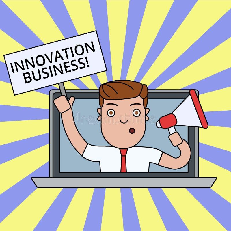Schreibensanmerkung, die Innovations-Gesch?ft zeigt Die Gesch?ftsfotopr?sentation stellen neue Ideen-Arbeitsfluss-Methodologie-Di vektor abbildung