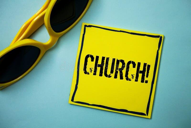 Schreibensanmerkung, die Kirche zeigt Geschäftsfoto Präsentationskathedralen-Altar-Turm-Kapellen-Moscheen-Schongebiet-Schrein-Syn lizenzfreie stockfotos