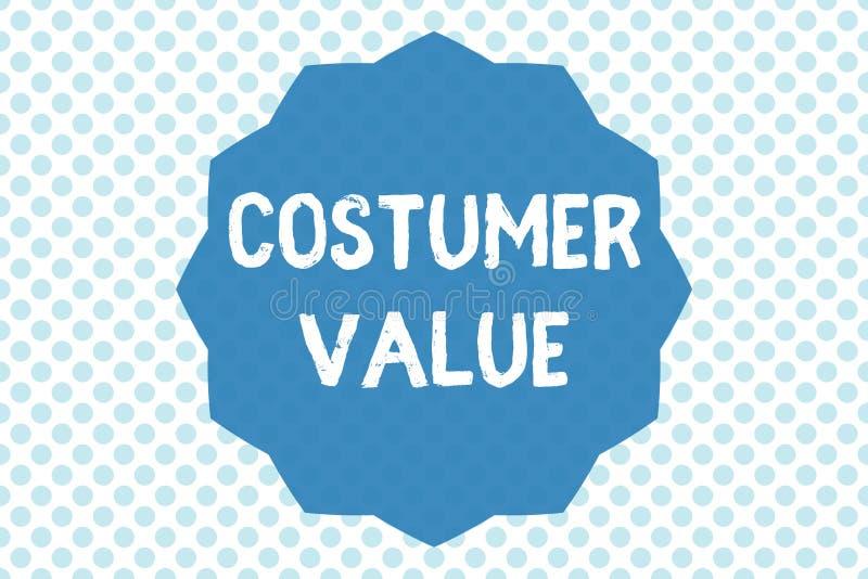 Schreibensanmerkung, die Kostüm-Wert zeigt Geschäftsfoto Präsentationsmenge Nutzen, die Kunden vom Kauf von Produkten erhalten stockfoto