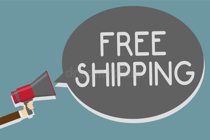 Schreibensanmerkung, die kostenlosen Versand zeigt Geschäftsfoto Präsentationsfracht-Fracht-Lieferungs-Ladungs-Nutzlasten-Versand lizenzfreie abbildung
