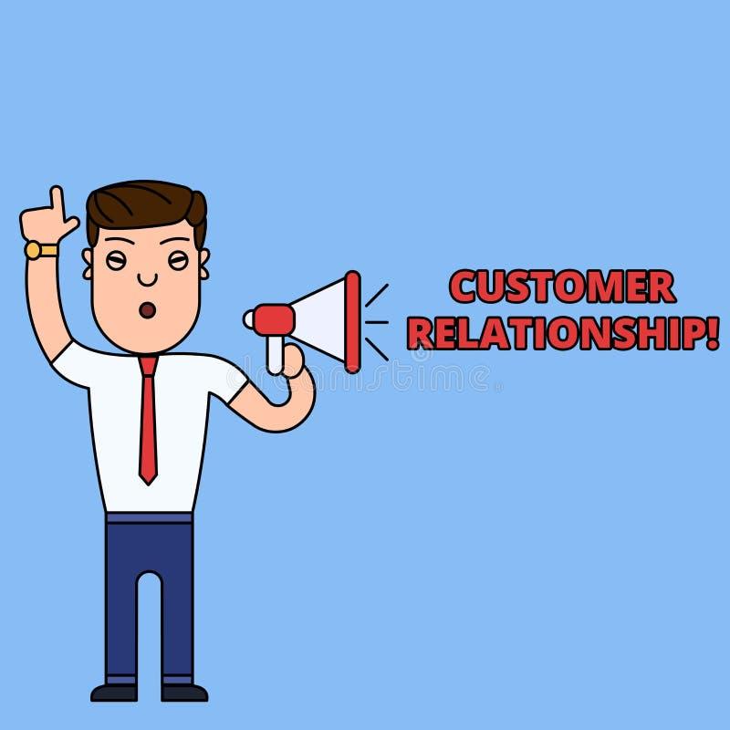 Schreibensanmerkung, die Kunden-Verh?ltnis zeigt Gesch?ftsfoto Pr?sentationsabkommen und Interaktion zwischen Firma und Verbrauch lizenzfreie abbildung