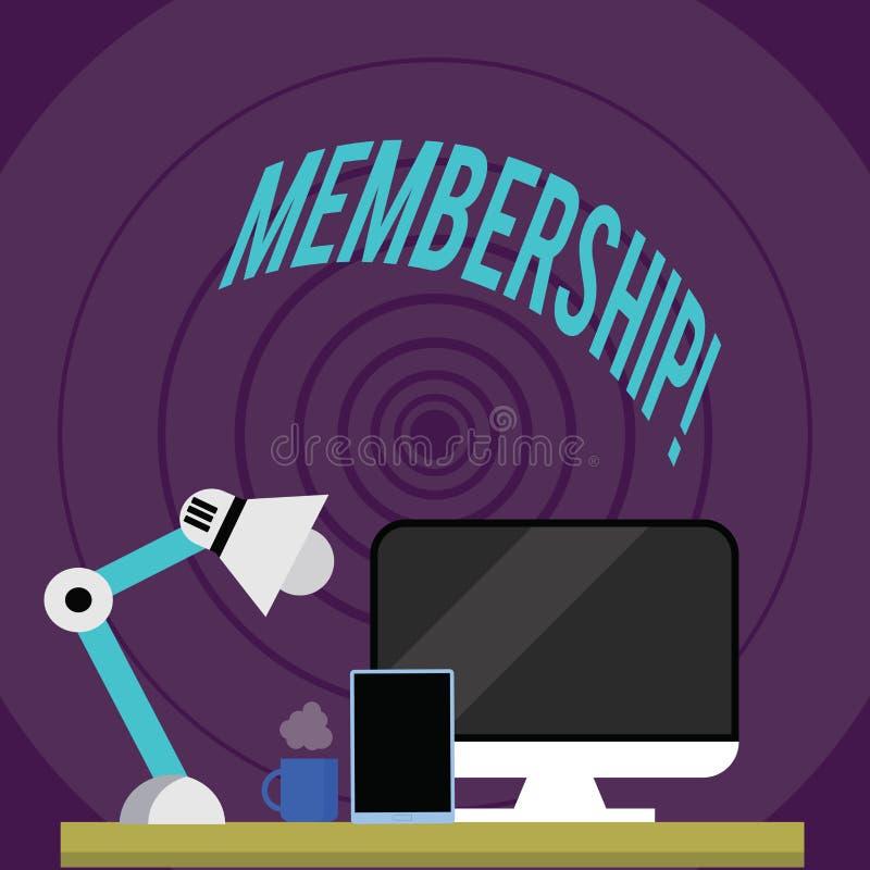 Schreibensanmerkung, die Mitgliedschaft zeigt Das Geschäftsfoto, das seiend Mitgliedsteil einer Gruppe oder Team zur Schau stellt stock abbildung