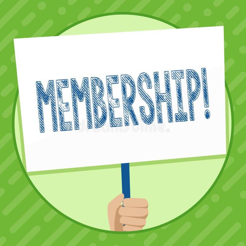 Schreibensanmerkung, die Mitgliedschaft zeigt Das Geschäftsfoto, das seiend Mitgliedsteil einer Gruppe oder Team zur Schau stellt vektor abbildung