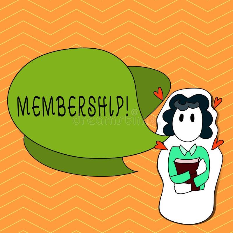 Schreibensanmerkung, die Mitgliedschaft zeigt Das Geschäftsfoto, das seiend Mitgliedsteil einer Gruppe oder Team zur Schau stellt lizenzfreie abbildung