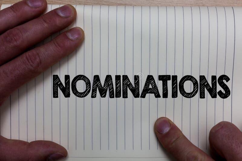 Schreibensanmerkung, die Nominierungen zeigt Geschäftsfoto Präsentationsvorschläge von jemand oder von etwas für eine Jobposition stockfotos
