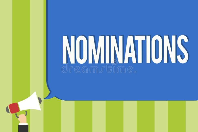 Schreibensanmerkung, die Nominierungen zeigt Geschäftsfoto Präsentationsvorschläge von jemand oder von etwas für eine Jobposition lizenzfreie stockbilder