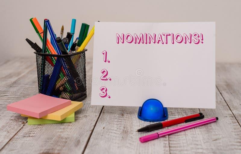 Schreibensanmerkung, die Nominierungen zeigt Pr?sentationsaktion des Gesch?ftsfotos der Ernennung oder des Zustandes, die f?r Pre lizenzfreie stockbilder