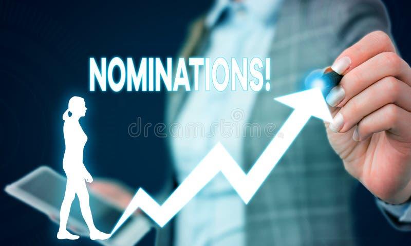 Schreibensanmerkung, die Nominierungen zeigt Pr?sentationsaktion des Gesch?ftsfotos der Ernennung oder des Zustandes, die f?r Pre lizenzfreie stockfotos