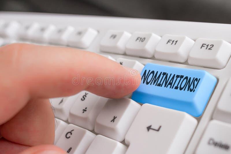 Schreibensanmerkung, die Nominierungen zeigt Pr?sentationsaktion des Gesch?ftsfotos der Ernennung oder des Zustandes, die f?r Pre stockfotografie