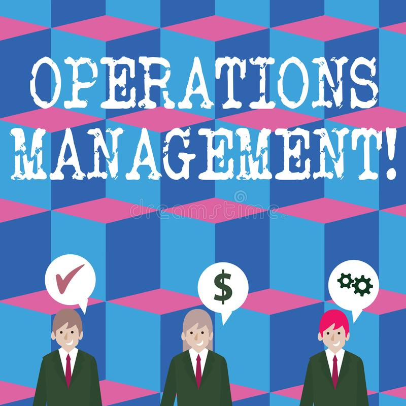 Schreibensanmerkung, die Operations-Management zeigt Pr?sentationsc$entwerfen des Gesch?ftsfotos und Kontrolle des Prozesses von lizenzfreie abbildung
