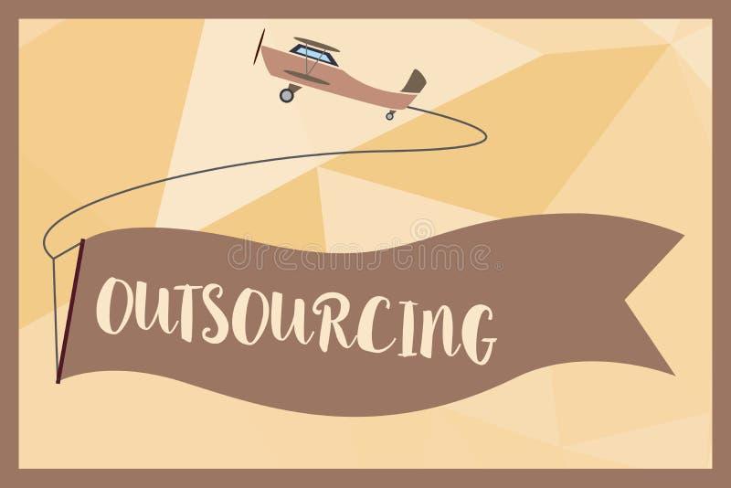 Schreibensanmerkung, die Outsourcing zeigt Die Geschäftsfotopräsentation erreichen Waren oder halten durch Vertrag von einem exte lizenzfreie abbildung