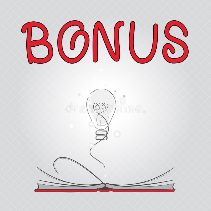 Schreibensanmerkung, die Prämie zeigt Geschäftsfoto Präsentationsbelohnung für Sonderdividende und Geld der guten Leistung fügte  vektor abbildung