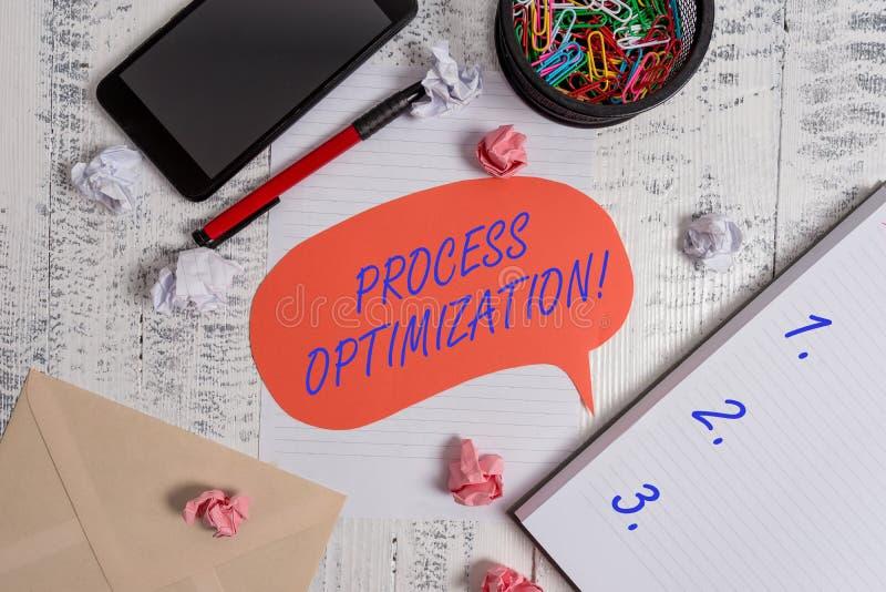 Schreibensanmerkung, die Prozessoptimierung zeigt Die Gesch?ftsfotopr?sentation verbessern Organisationen, die Leistungsf?higkeit lizenzfreies stockfoto