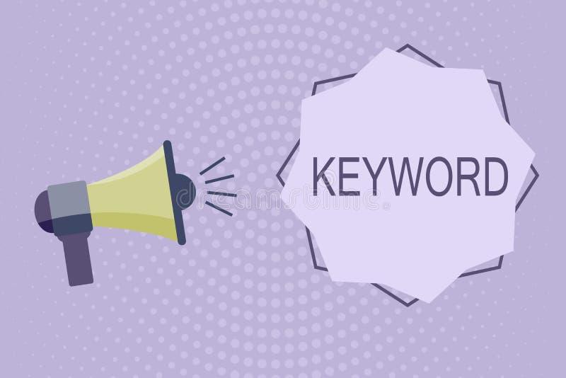 Schreibensanmerkung, die Schlüsselwort zeigt Geschäftsfoto Präsentationswort-Konzept mit wichtigem Marketing der hohen Bedeutung stock abbildung