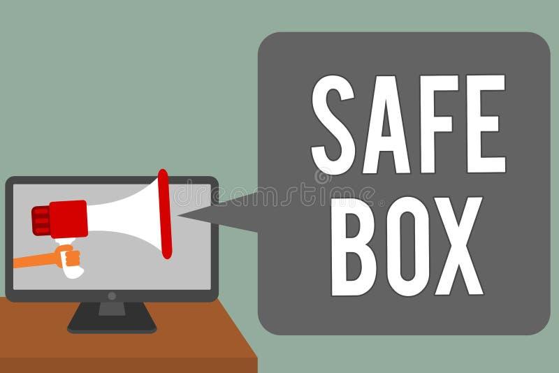 Schreibensanmerkung, die sicheren Kasten zeigt Das Geschäftsfoto, das kleine Struktur A zur Schau stellen, in der Sie wichtig hal lizenzfreie abbildung