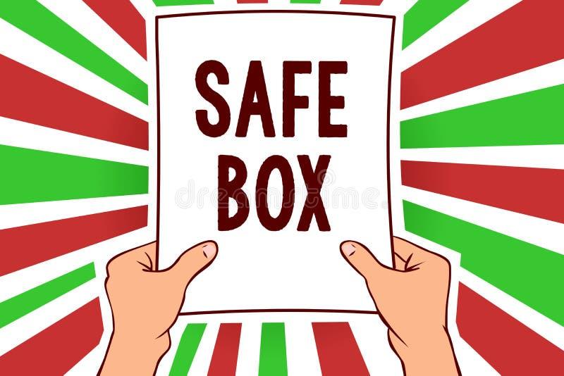 Schreibensanmerkung, die sicheren Kasten zeigt Das Geschäftsfoto, das kleine Struktur A zur Schau stellen, in der Sie wichtig hal stock abbildung