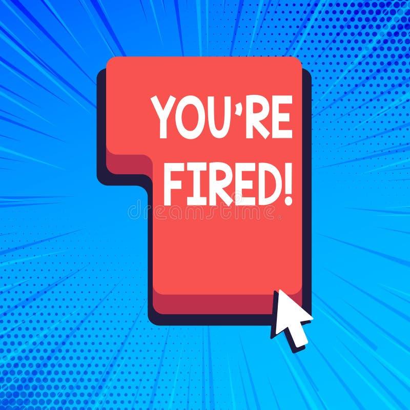 Schreibensanmerkung, die Sie bezüglich abgefeuert zeigt Die Geschäftsfotopräsentation, die durch Chef verwendet wird, zeigen Ange lizenzfreie abbildung