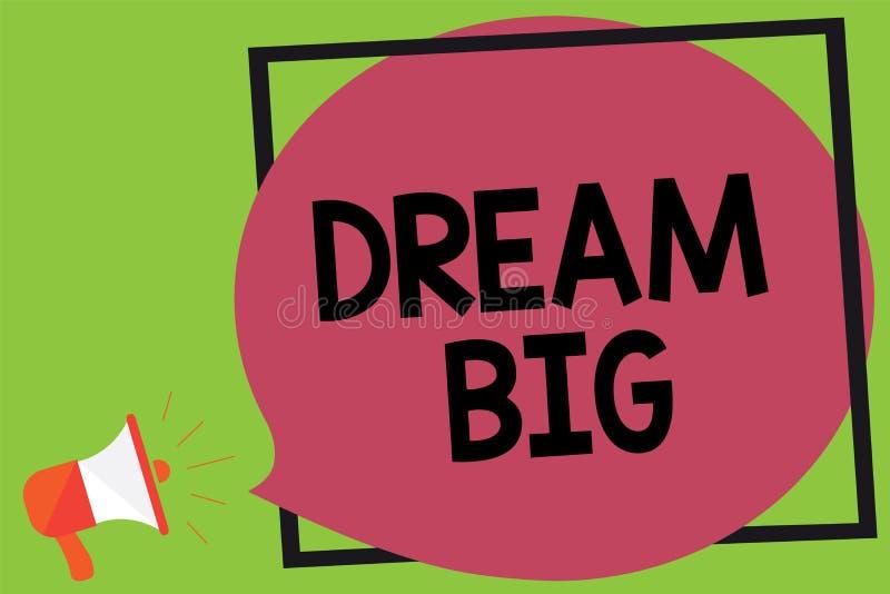 Schreibensanmerkung, die Traumgroßes zeigt Geschäftsfoto, das zur Schau stellt, um an etwas hohen Wert zu denken, dass Sie das la vektor abbildung