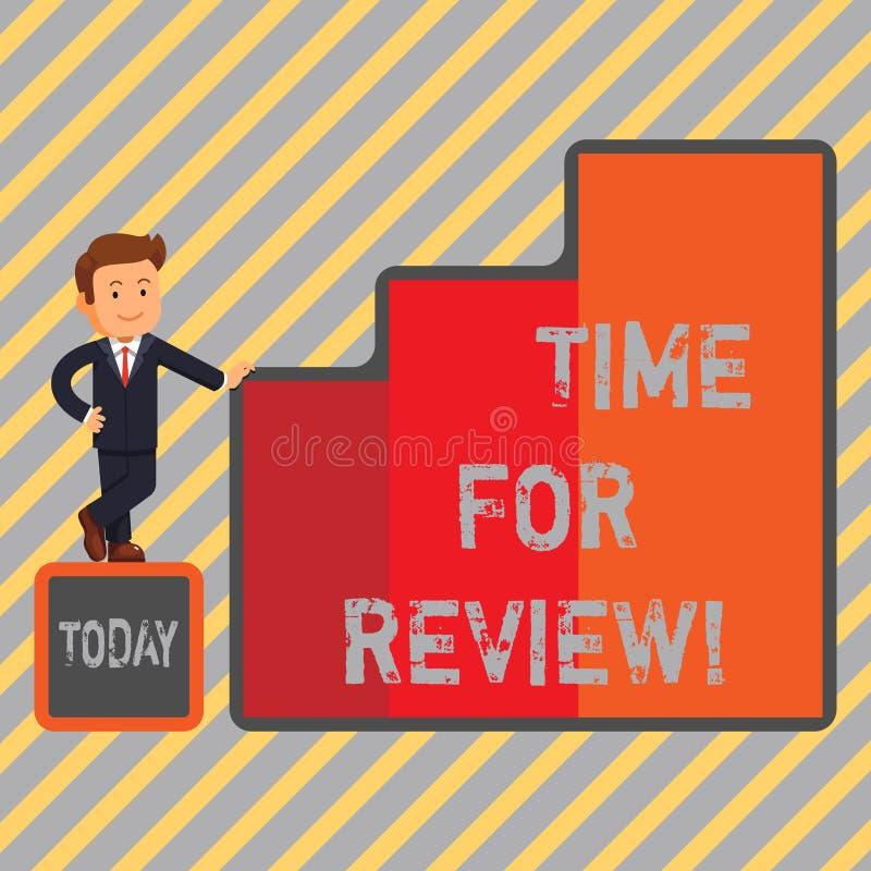 Schreibensanmerkung, die Zeit für Bericht zeigt Geschäftsfoto, das Feedback-Bewertungs-Ratenjobtest oder -produkt gebend zur Scha stock abbildung
