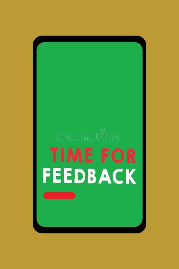 Schreibensanmerkung, die Zeit für Feedback zeigt Geschäftsfoto geben PräsentationsbedarfsAntwort oder Kritiker auf etwas stock abbildung