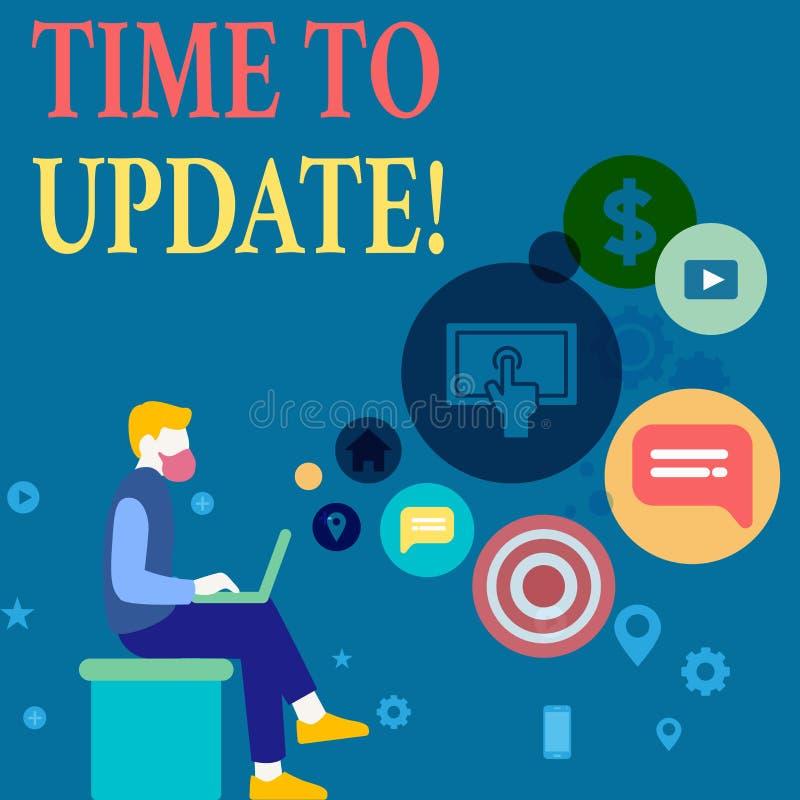 Schreibensanmerkung, die Zeit zeigt zu aktualisieren Das Gesch?ftsfoto, das dieses zur Schau stellt, ist der rechte Moment, zum e lizenzfreie abbildung