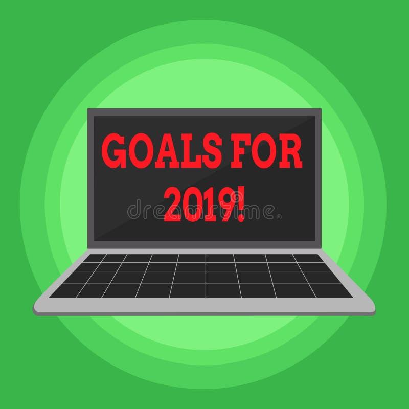 Schreibensanmerkung, die Ziele für 2019 zeigt Präsentationsgegenstand des Geschäftsfotos von demonstratings Ehrgeiz oder von Bemü vektor abbildung
