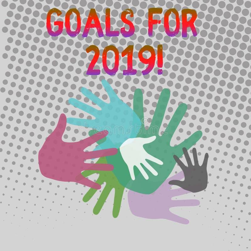 Schreibensanmerkung, die Ziele für 2019 zeigt Präsentationsgegenstand des Geschäftsfotos von demonstratings Ehrgeiz oder von Bemü lizenzfreie abbildung