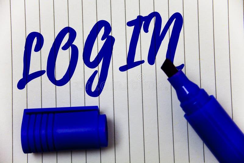 Schreibensanmerkungs-Vertretung Anmeldung Geschäftsfoto Präsentationstat des Teilnehmens an einer Computerdatenbank oder -system, lizenzfreie stockbilder