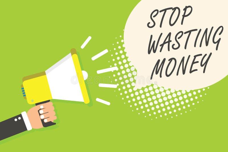 Schreibensanmerkungs-Vertretung Halt, der Geld vergeudet Geschäftsfoto lässt Präsentationsorganisierender Management-Zeitplan tun stock abbildung