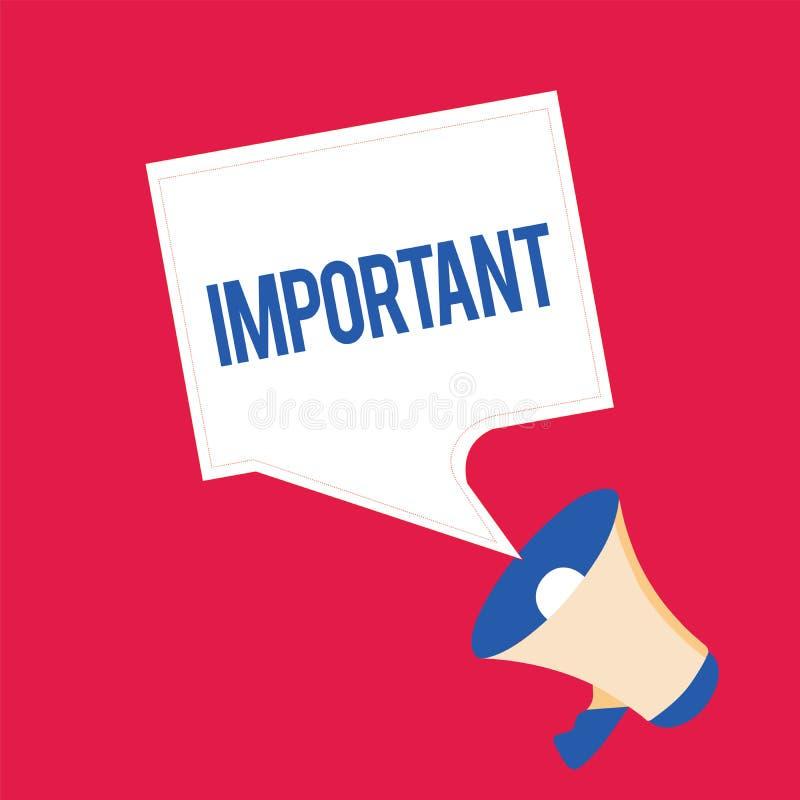 Schreibensanmerkungsdarstellen wichtig Präsentationswert der hohen Bedeutung des Geschäftsfotos für jemand oder in der allgemeine stock abbildung