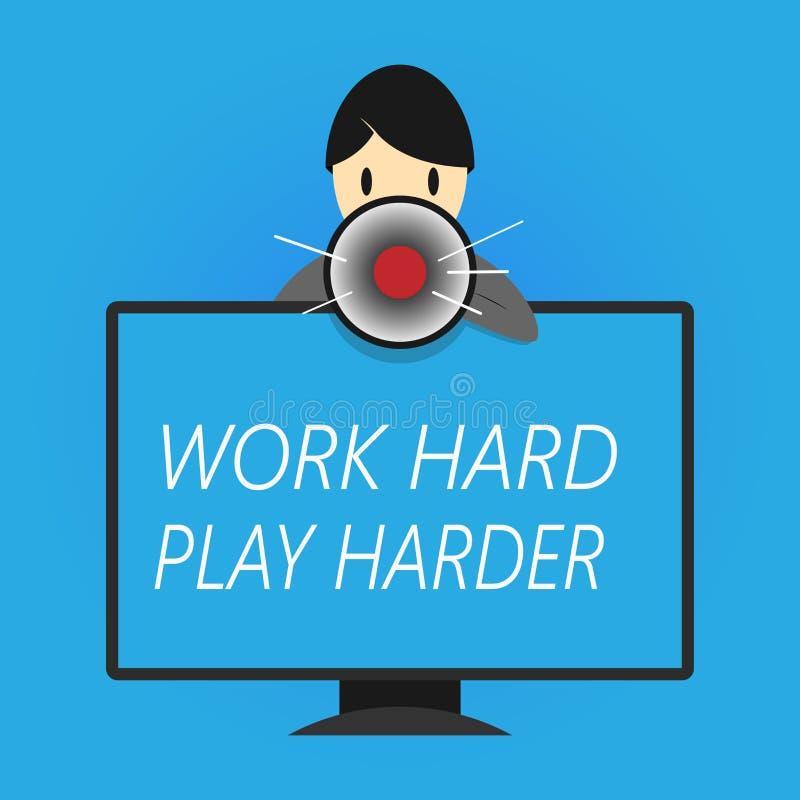 Schreibensanmerkungsvertretung Arbeits-hartes Spiel stark Das Geschäftsfoto, das ein Balancen-Leben zur Schau stellt, haben einen vektor abbildung