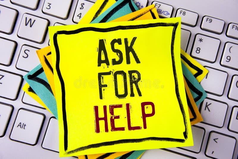 Schreibensanmerkungsvertretung bitten um Hilfe Geschäftsfoto Präsentationsgebrauch treibt Unterstützung von den Leuten um Sie vol stockbilder