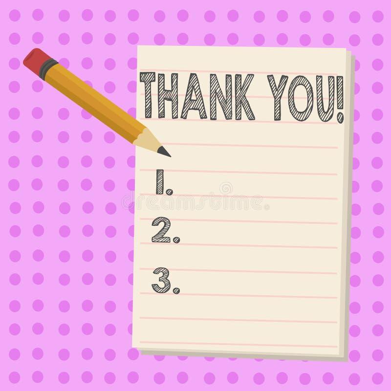 Schreibensanmerkungsvertretung danken Ihnen Geschäftsfoto Präsentationsanerkennungsgruß Bestätigungs-Dankbarkeit lizenzfreie abbildung