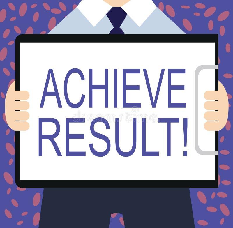 Schreibensanmerkungsvertretung erzielen Ergebnis Die Geschäftsfotopräsentation empfangen erfolgreiches Ergebnis von der harten Ar vektor abbildung