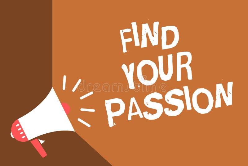 Schreibensanmerkungsvertretung finden Ihre Leidenschaft Geschäftsfoto finden Präsentationssuchvorgang-Träume, dass bester Job ode lizenzfreie abbildung
