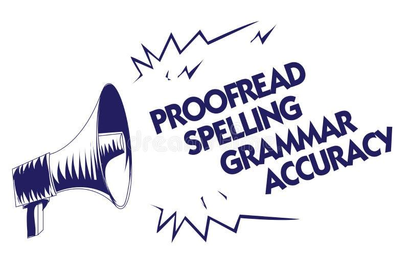 Schreibensanmerkungsvertretung Korrektur gelesen, Grammatik-Genauigkeit buchstabierend Das Geschäftsfoto, das grammatisch korrekt lizenzfreie abbildung