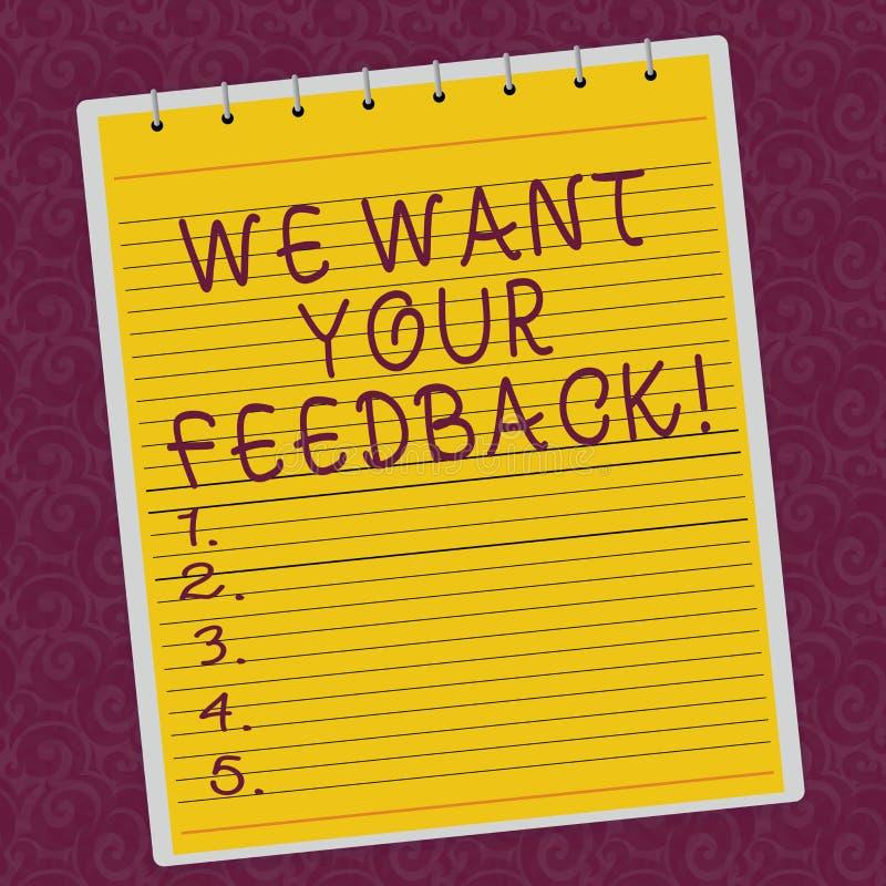 Schreibensanmerkungsvertretung wünschen wir Ihr Feedback Das Geschäftsfoto, das zur Schau stellt, um Perforanalysisce oder Produk stock abbildung