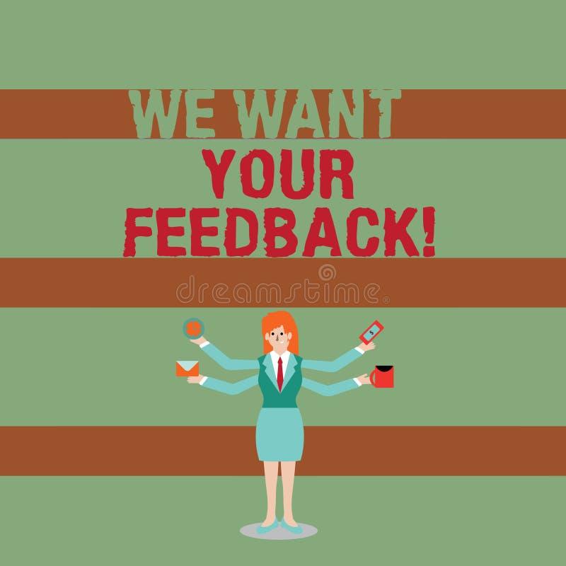 Schreibensanmerkungsvertretung wünschen wir Ihr Feedback Die Präsentationskritik des Geschäftsfotos, die jemand gegeben wird, sag lizenzfreie abbildung