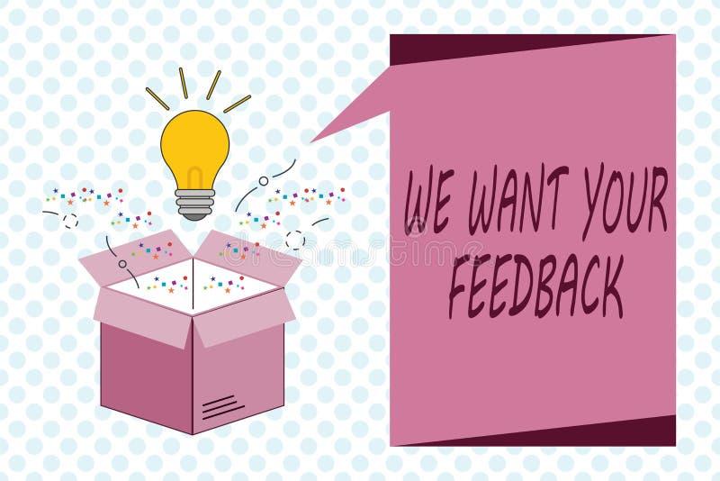Schreibensanmerkungsvertretung wünschen wir Ihr Feedback Geschäftsfoto, das zur Schau stellt, um Leistung oder Produkt-fristgerec stock abbildung