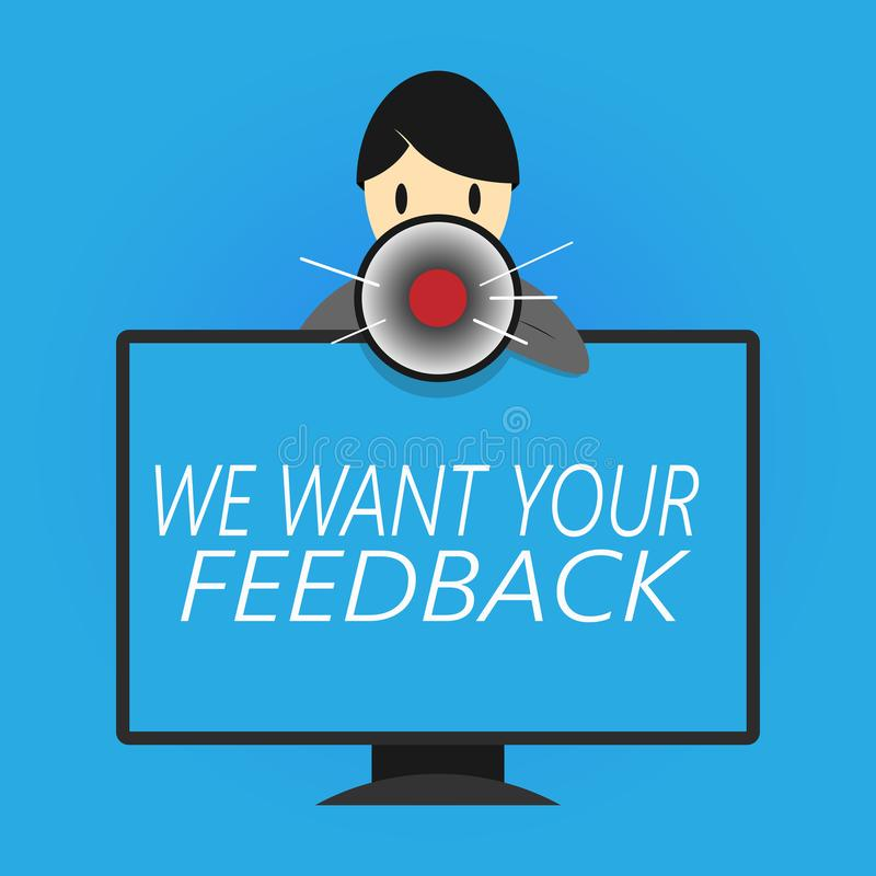 Schreibensanmerkungsvertretung wünschen wir Ihr Feedback Geschäftsfoto, das zur Schau stellt, um Leistung oder Produkt-fristgerec lizenzfreie abbildung