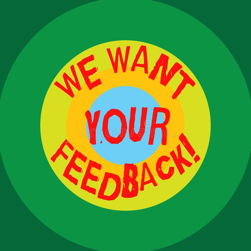 Schreibensanmerkungsvertretung wünschen wir Ihr Feedback Geschäftsfoto, das zur Schau stellt, um Perforanalysisce oder Produkt-fr vektor abbildung