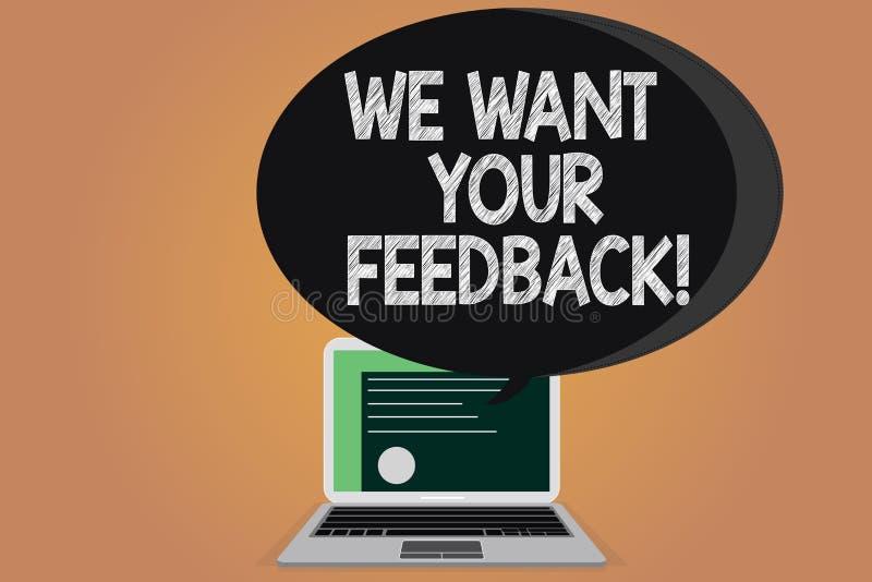 Schreibensanmerkungsvertretung wünschen wir Ihr Feedback Geschäftsfoto, das zur Schau stellt, um Perforanalysisce oder Produkt zu lizenzfreie abbildung