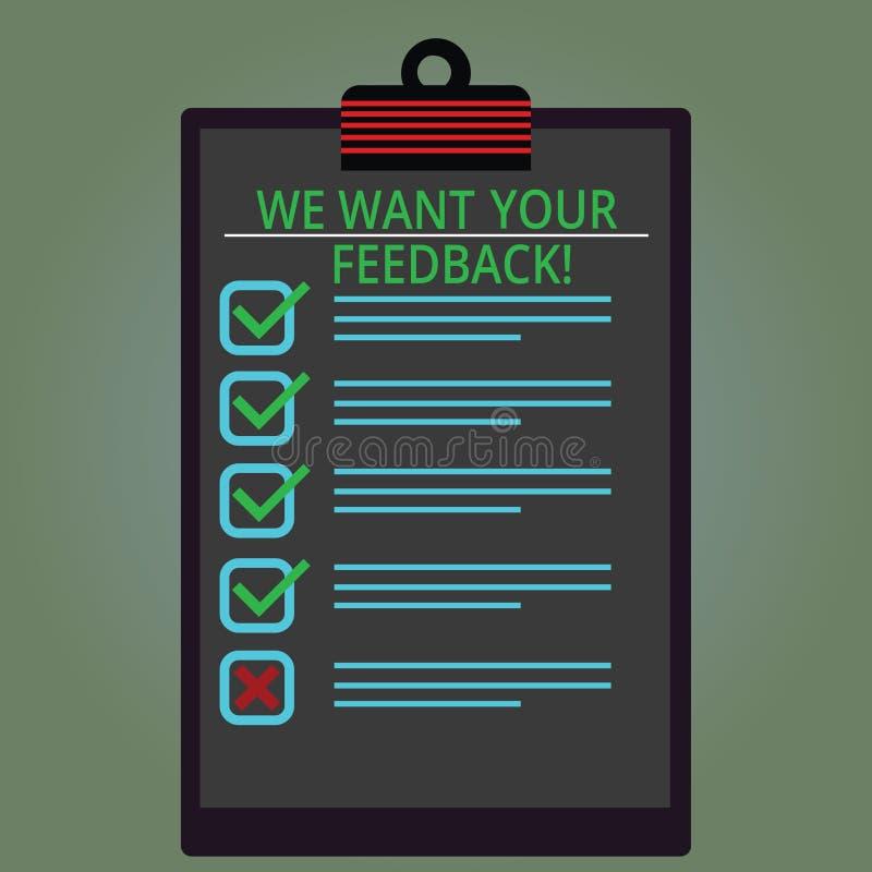 Schreibensanmerkungsvertretung wünschen wir Ihr Feedback Geschäftsfoto, das zur Schau stellt, um Perforanalysisce oder Produkt zu stock abbildung