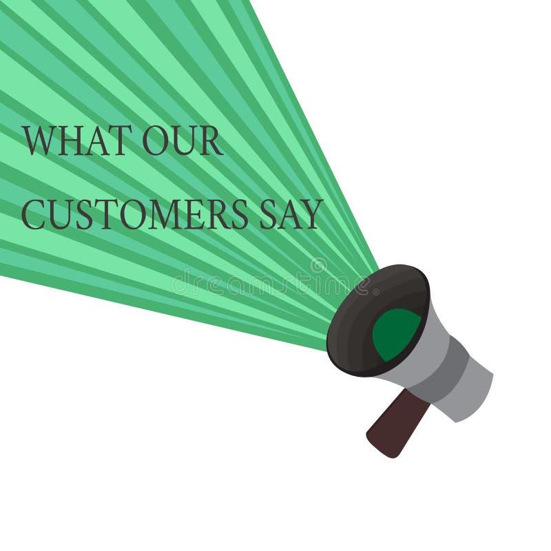 Schreibensanmerkungsvertretung, was unsere Kunden sagen Geschäftsfoto, das zur Schau stellt, um Benutzer-Feedback zu kennen die V stock abbildung