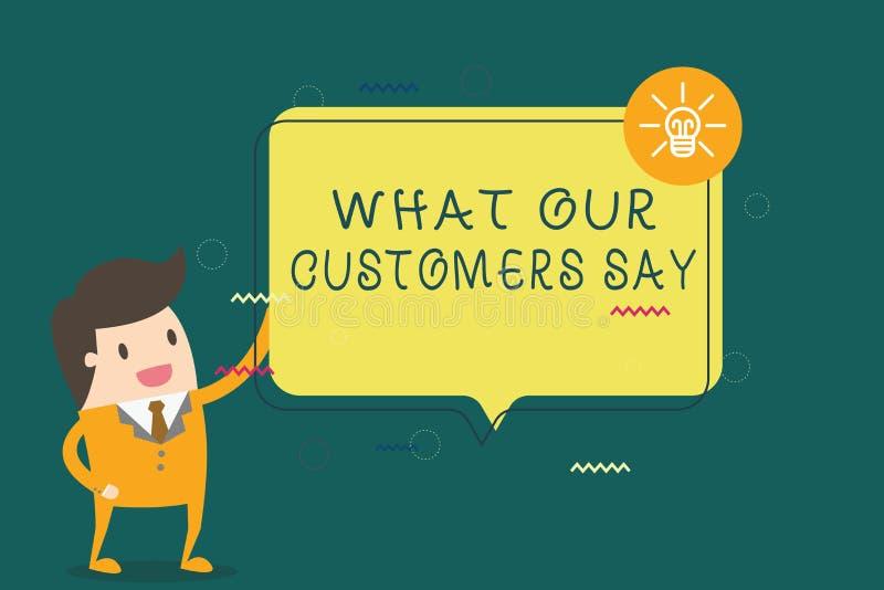 Schreibensanmerkungsvertretung, was unsere Kunden sagen Geschäftsfoto, das zur Schau stellt, um Benutzer-Feedback zu kennen die V vektor abbildung